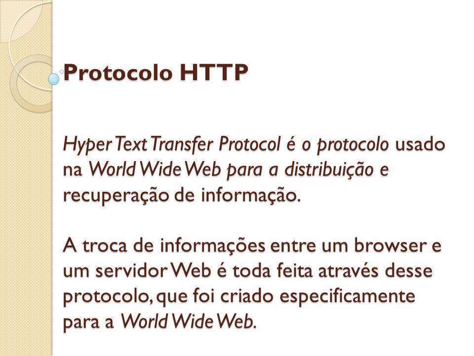 Protocolo HTTP Hyper Text Transfer Protocol é o protocolo usado na World Wide Web para a distribuição e recuperação de informação. A troca de informaç