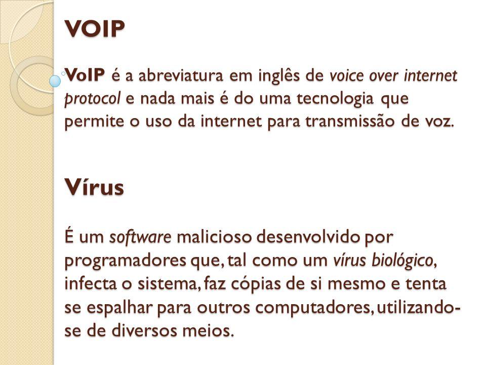 VOIP VoIP é a abreviatura em inglês de voice over internet protocol e nada mais é do uma tecnologia que permite o uso da internet para transmissão de