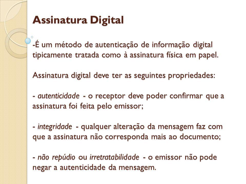 Assinatura Digital -É um método de autenticação de informação digital tipicamente tratada como à assinatura física em papel. Assinatura digital deve t