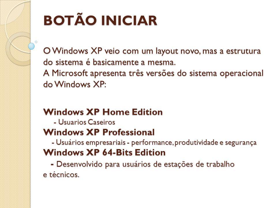 BOTÃO INICIAR O Windows XP veio com um layout novo, mas a estrutura do sistema é basicamente a mesma. A Microsoft apresenta três versões do sistema op