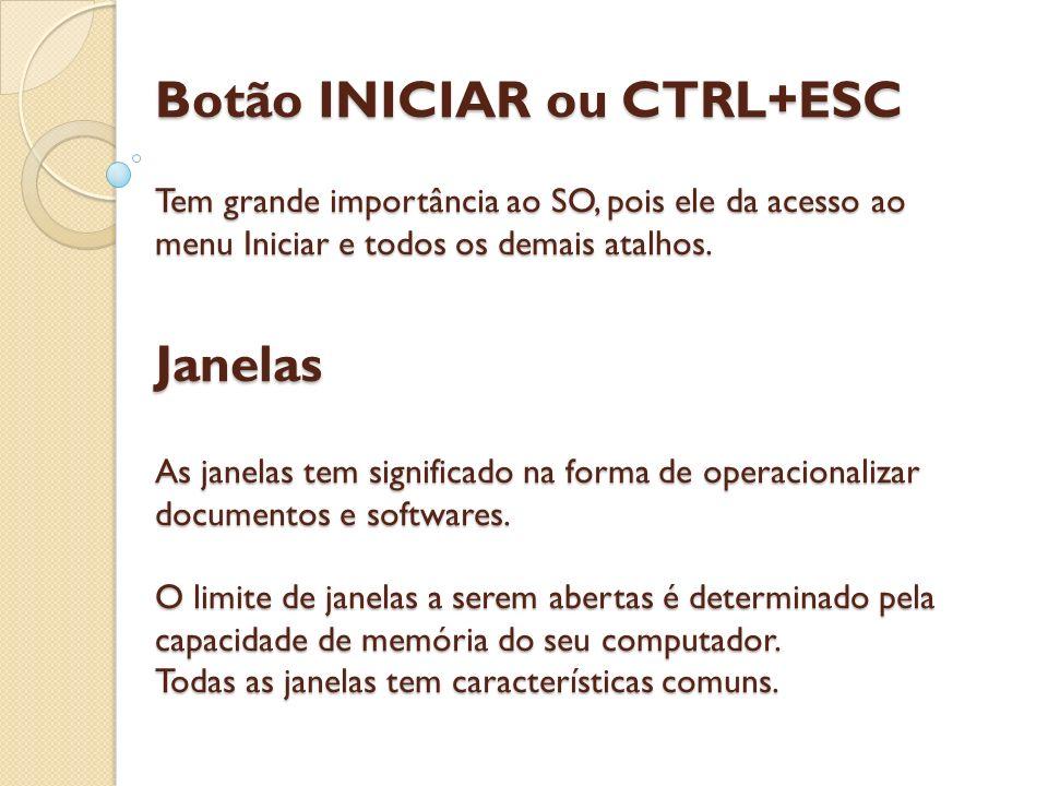 Botão INICIAR ou CTRL+ESC Tem grande importância ao SO, pois ele da acesso ao menu Iniciar e todos os demais atalhos. Janelas As janelas tem significa