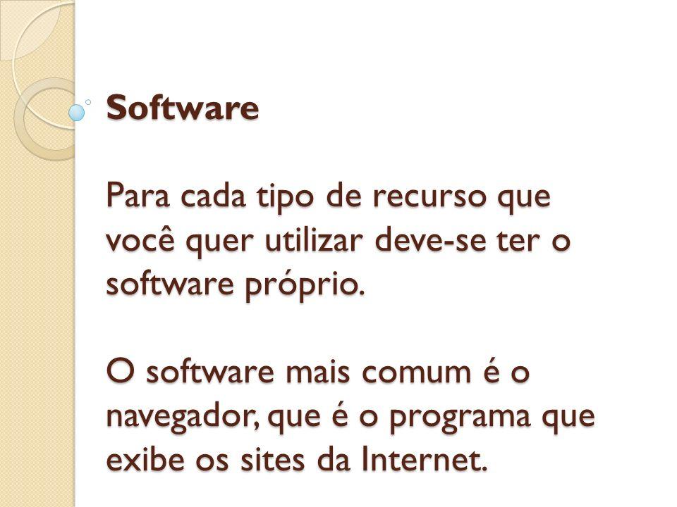 Software Para cada tipo de recurso que você quer utilizar deve-se ter o software próprio. O software mais comum é o navegador, que é o programa que ex