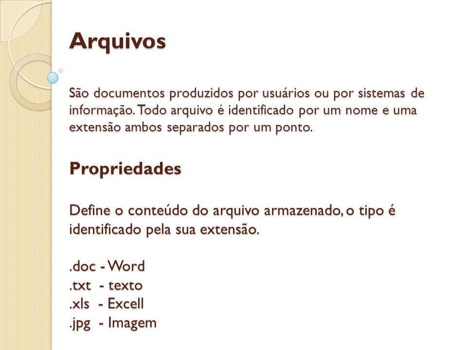 Arquivos São documentos produzidos por usuários ou por sistemas de informação. Todo arquivo é identificado por um nome e uma extensão ambos separados