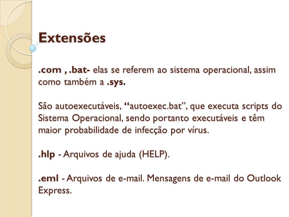 Extensões.com,.bat- elas se referem ao sistema operacional, assim como também a.sys. São autoexecutáveis, autoexec.bat, que executa scripts do Sistema