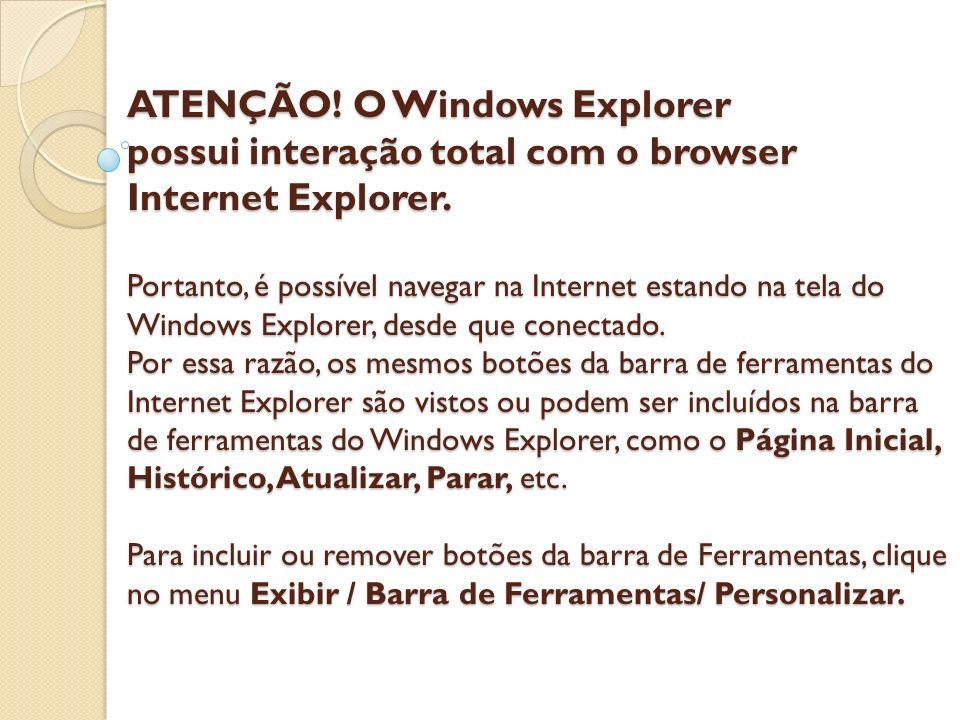 ATENÇÃO! O Windows Explorer possui interação total com o browser Internet Explorer. Portanto, é possível navegar na Internet estando na tela do Window