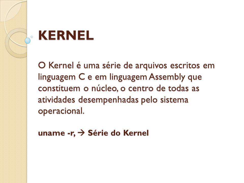 KERNEL O Kernel é uma série de arquivos escritos em linguagem C e em linguagem Assembly que constituem o núcleo, o centro de todas as atividades desem