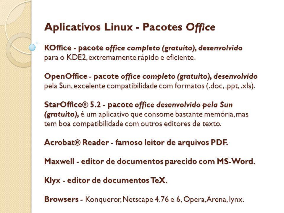 Aplicativos Linux - Pacotes Office KOffice - pacote office completo (gratuito), desenvolvido para o KDE2, extremamente rápido e eficiente. OpenOffice