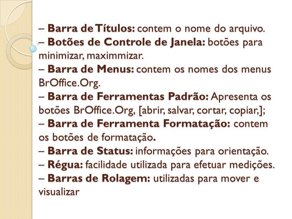– Barra de Títulos: contem o nome do arquivo. – Botões de Controle de Janela: botões para minimizar, maximmizar. – Barra de Menus: contem os nomes dos