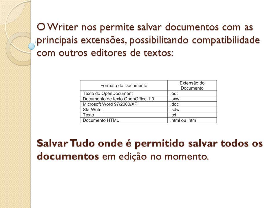 O Writer nos permite salvar documentos com as principais extensões, possibilitando compatibilidade com outros editores de textos: Salvar Tudo onde é p