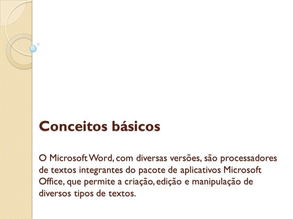 Conceitos básicos O Microsoft Word, com diversas versões, são processadores de textos integrantes do pacote de aplicativos Microsoft Office, que permi