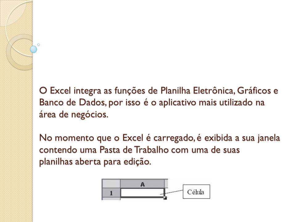 O Excel integra as funções de Planilha Eletrônica, Gráficos e Banco de Dados, por isso é o aplicativo mais utilizado na área de negócios. No momento q