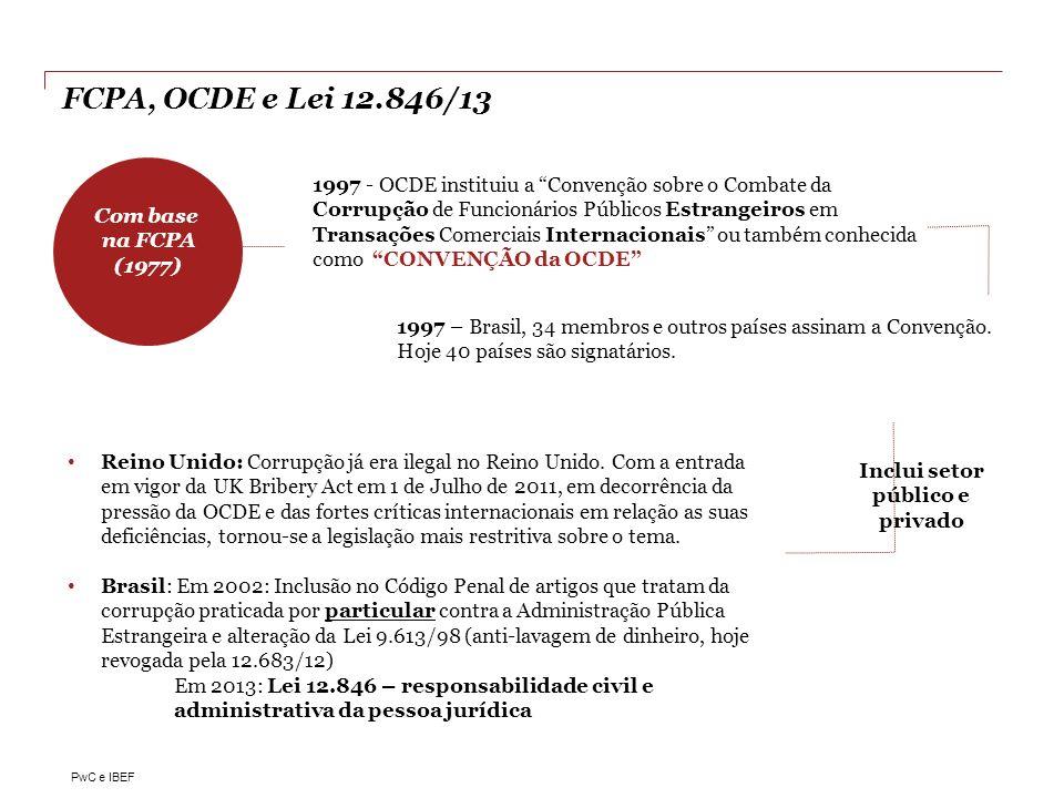 PwC e IBEF FCPA, OCDE e Lei 12.846/13 1997 - OCDE instituiu a Convenção sobre o Combate da Corrupção de Funcionários Públicos Estrangeiros em Transaçõ
