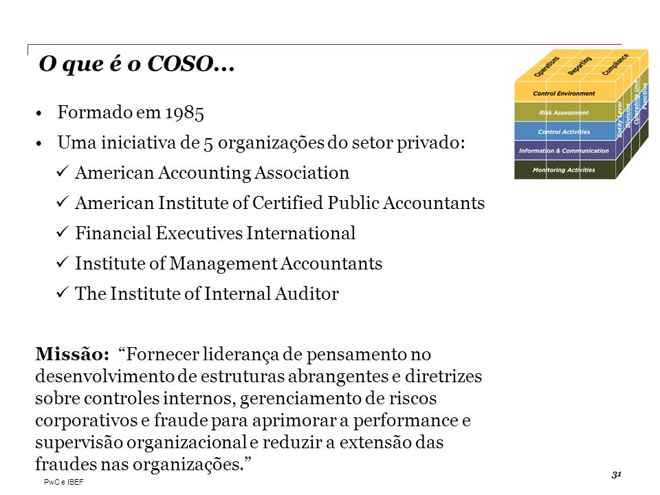 PwC e IBEF O que é o COSO... 31 Formado em 1985 Uma iniciativa de 5 organizações do setor privado: American Accounting Association American Institute