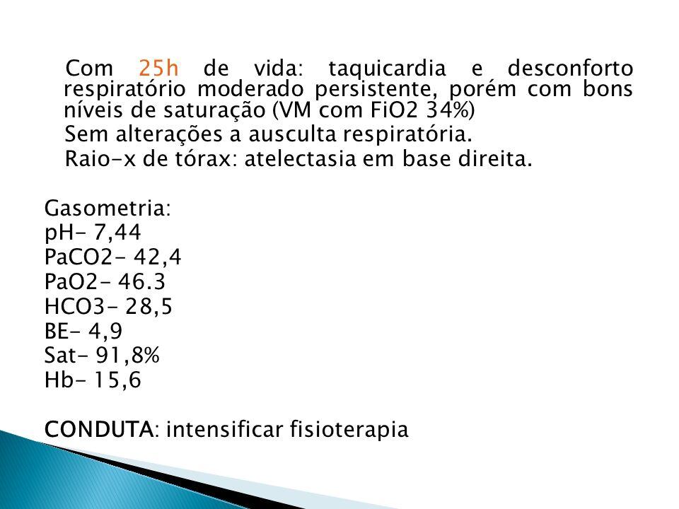 Com 25h de vida: taquicardia e desconforto respiratório moderado persistente, porém com bons níveis de saturação (VM com FiO2 34%) Sem alterações a au