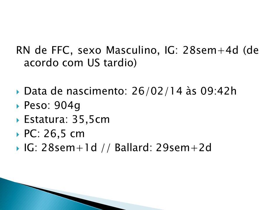 RN de FFC, sexo Masculino, IG: 28sem+4d (de acordo com US tardio) Data de nascimento: 26/02/14 às 09:42h Peso: 904g Estatura: 35,5cm PC: 26,5 cm IG: 28sem+1d // Ballard: 29sem+2d