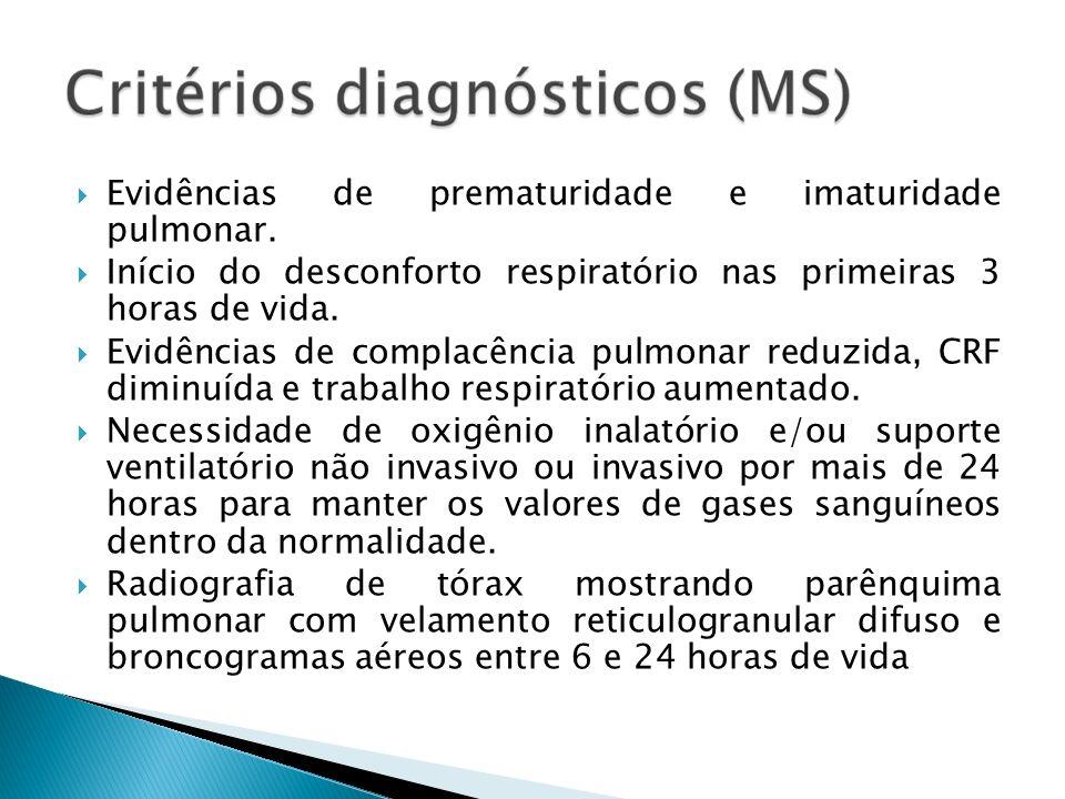 Evidências de prematuridade e imaturidade pulmonar. Início do desconforto respiratório nas primeiras 3 horas de vida. Evidências de complacência pulmo