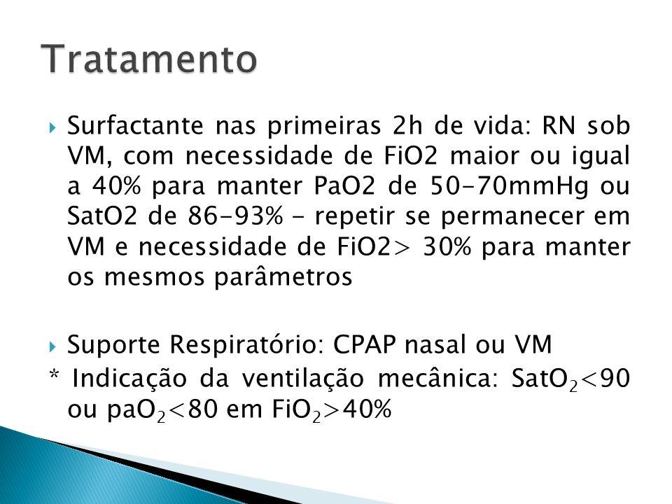 Surfactante nas primeiras 2h de vida: RN sob VM, com necessidade de FiO2 maior ou igual a 40% para manter PaO2 de 50-70mmHg ou SatO2 de 86-93% - repetir se permanecer em VM e necessidade de FiO2> 30% para manter os mesmos parâmetros Suporte Respiratório: CPAP nasal ou VM * Indicação da ventilação mecânica: SatO 2 40%