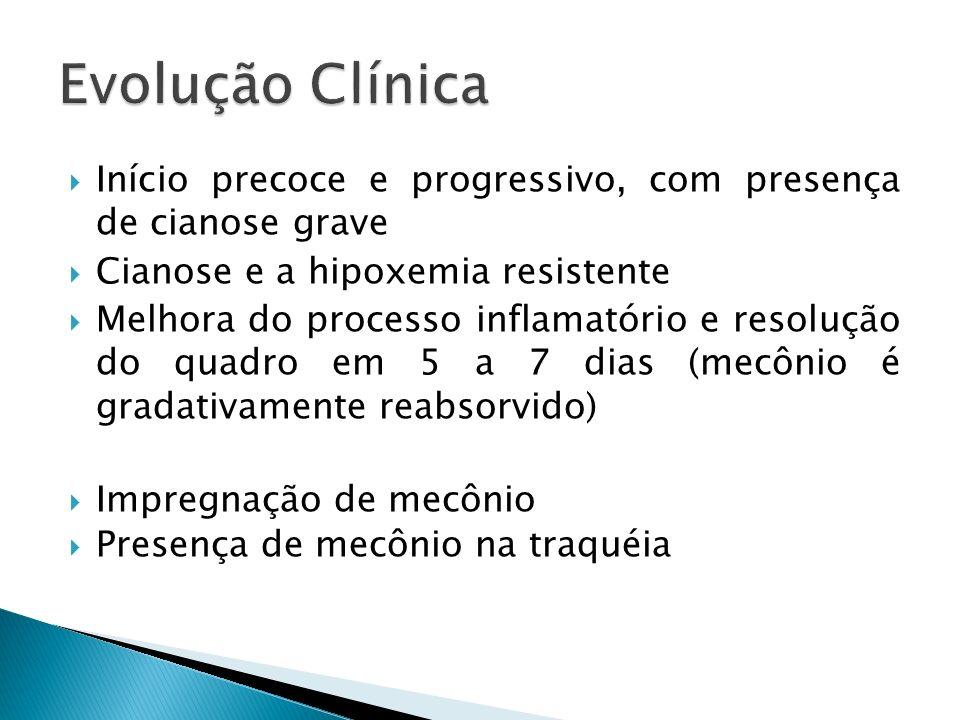 Início precoce e progressivo, com presença de cianose grave Cianose e a hipoxemia resistente Melhora do processo inflamatório e resolução do quadro em 5 a 7 dias (mecônio é gradativamente reabsorvido) Impregnação de mecônio Presença de mecônio na traquéia