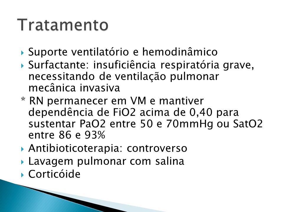 Suporte ventilatório e hemodinâmico Surfactante: insuficiência respiratória grave, necessitando de ventilação pulmonar mecânica invasiva * RN permanecer em VM e mantiver dependência de FiO2 acima de 0,40 para sustentar PaO2 entre 50 e 70mmHg ou SatO2 entre 86 e 93% Antibioticoterapia: controverso Lavagem pulmonar com salina Corticóide