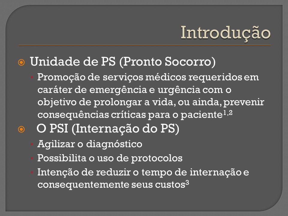 Unidade de PS (Pronto Socorro) Promoção de serviços médicos requeridos em caráter de emergência e urgência com o objetivo de prolongar a vida, ou aind