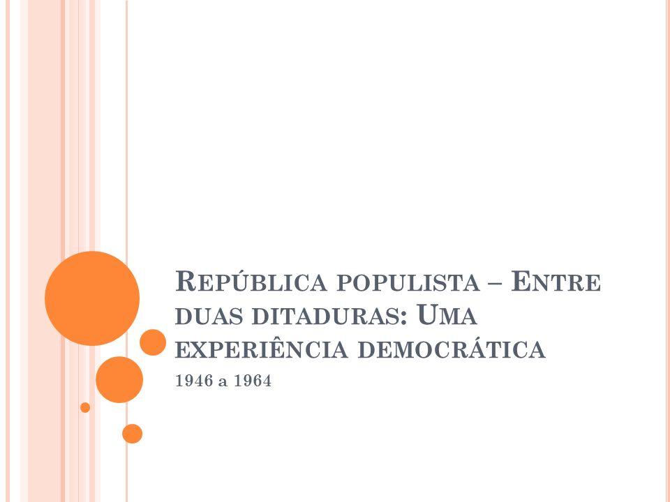 Governo Real de Jango (1963 a 1964) Montou seu ministério com algumas figuras notáveis da vida política e intelectual brasileira (como Celso Furtado e San Thiago Dantas); Plano Trienal: Objetivos centrais: Combate à inflação e a retomada do crescimento industrial; Reformas de Base: Agrária, tributária, financeira e administrativa; Falta de apoio externo (capitais) e interno (setores mais conservadores