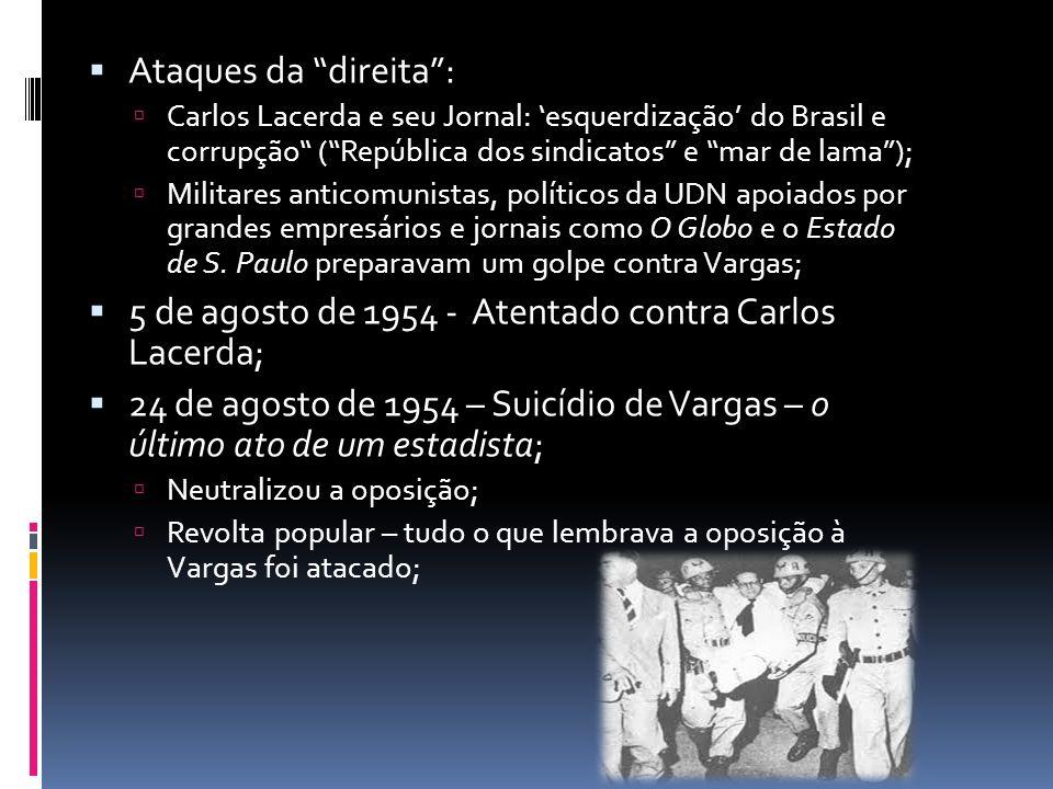 Ataques da direita: Carlos Lacerda e seu Jornal: esquerdização do Brasil e corrupção (República dos sindicatos e mar de lama); Militares anticomunista