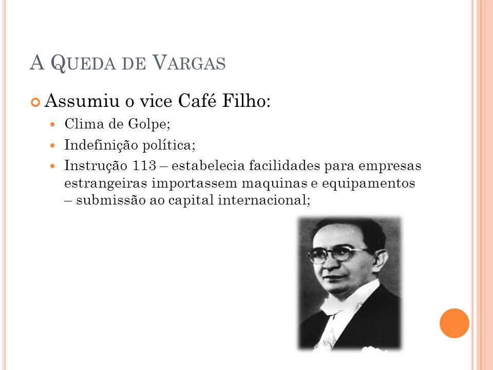 A Q UEDA DE V ARGAS Assumiu o vice Café Filho: Clima de Golpe; Indefinição política; Instrução 113 – estabelecia facilidades para empresas estrangeira