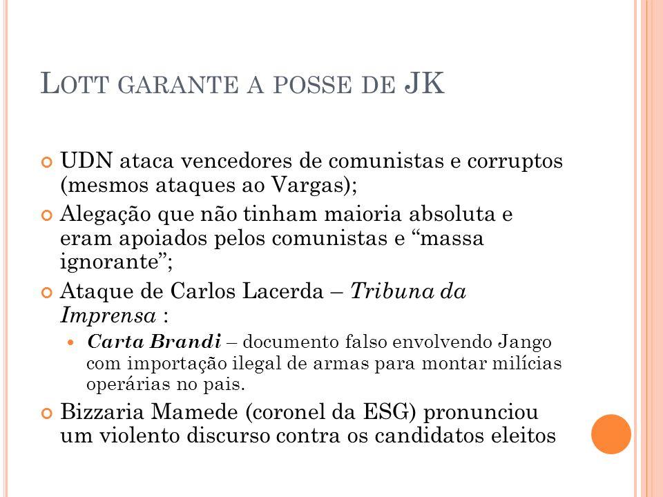L OTT GARANTE A POSSE DE JK UDN ataca vencedores de comunistas e corruptos (mesmos ataques ao Vargas); Alegação que não tinham maioria absoluta e eram