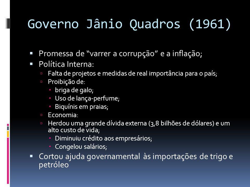 Governo Jânio Quadros (1961) Promessa de varrer a corrupção e a inflação; Política Interna: Falta de projetos e medidas de real importância para o paí