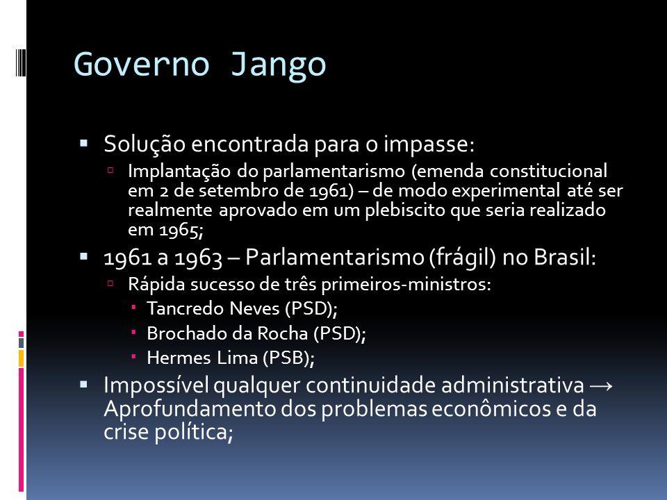 Governo Jango Solução encontrada para o impasse: Implantação do parlamentarismo (emenda constitucional em 2 de setembro de 1961) – de modo experimenta