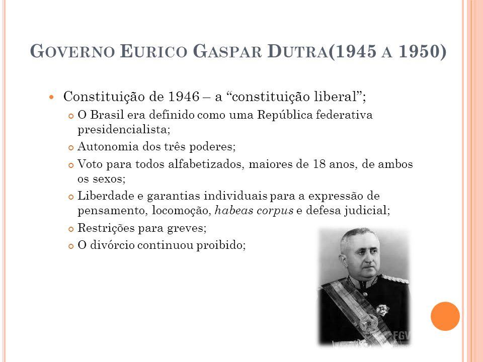 G OVERNO E URICO G ASPAR D UTRA (1945 A 1950) Constituição de 1946 – a constituição liberal; O Brasil era definido como uma República federativa presi