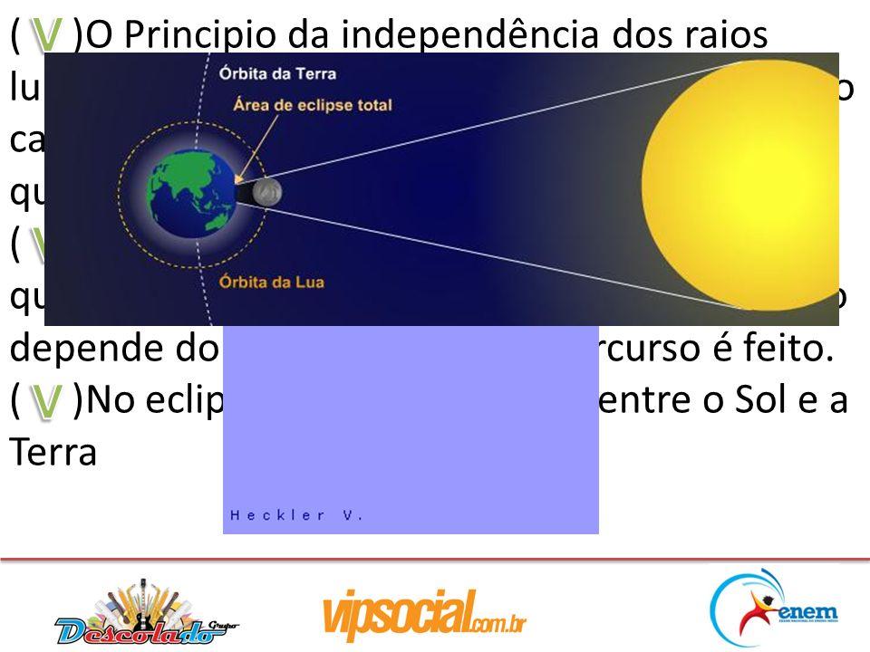 ( )O Principio da independência dos raios luminosos fala que: ao se propagar em um meio cada raio de luz se comporta independente de qualquer outro ra