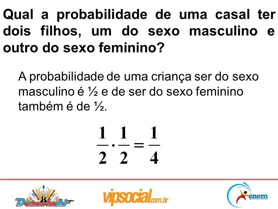 Qual a probabilidade de uma casal ter dois filhos, um do sexo masculino e outro do sexo feminino? A probabilidade de uma criança ser do sexo masculino