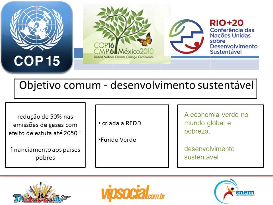 criada a REDD Fundo Verde redução de 50% nas emissões de gases com efeito de estufa até 2050 financiamento aos países pobres Objetivo comum - desenvol