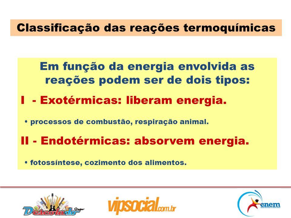 Em função da energia envolvida as reações podem ser de dois tipos: I - Exotérmicas: liberam energia. processos de combustão, respiração animal. II - E