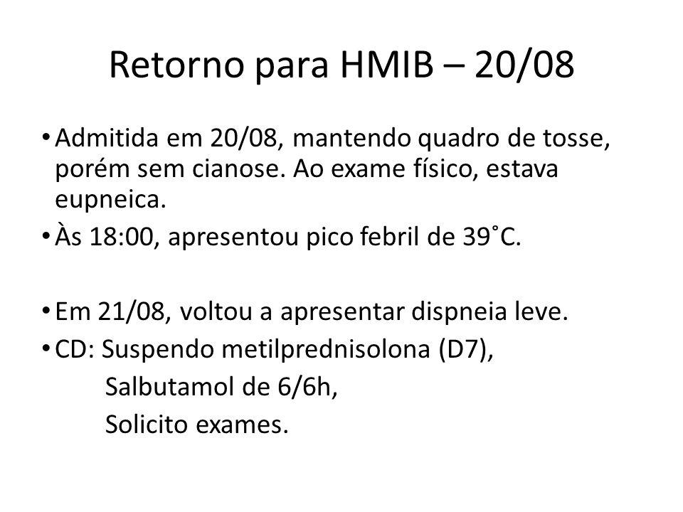 Retorno para HMIB – 20/08 Admitida em 20/08, mantendo quadro de tosse, porém sem cianose. Ao exame físico, estava eupneica. Às 18:00, apresentou pico
