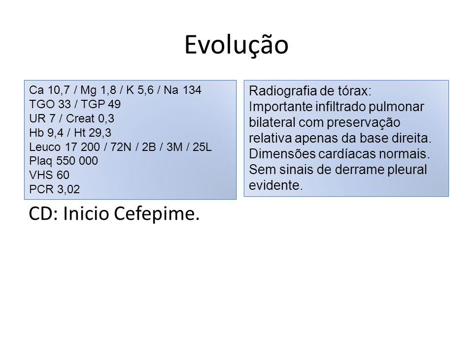 Evolução CD: Inicio Cefepime. Ca 10,7 / Mg 1,8 / K 5,6 / Na 134 TGO 33 / TGP 49 UR 7 / Creat 0,3 Hb 9,4 / Ht 29,3 Leuco 17 200 / 72N / 2B / 3M / 25L P