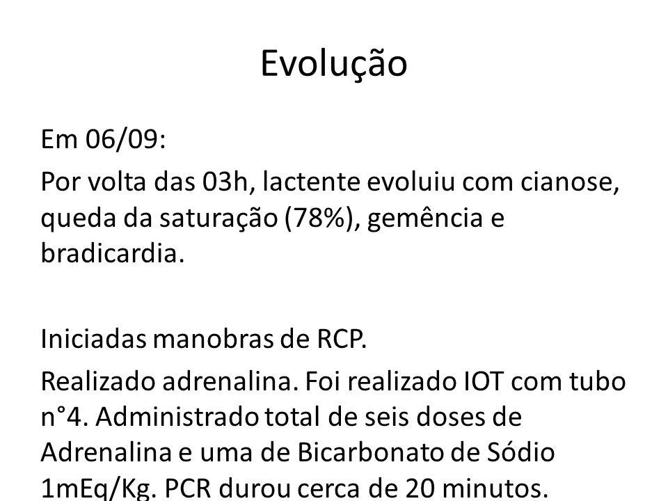 Evolução Em 06/09: Por volta das 03h, lactente evoluiu com cianose, queda da saturação (78%), gemência e bradicardia. Iniciadas manobras de RCP. Reali