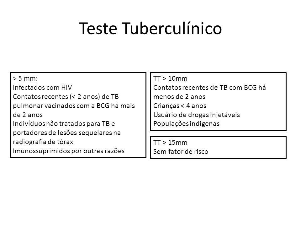 > 5 mm: Infectados com HIV Contatos recentes (< 2 anos) de TB pulmonar vacinados com a BCG há mais de 2 anos Indivíduos não tratados para TB e portado