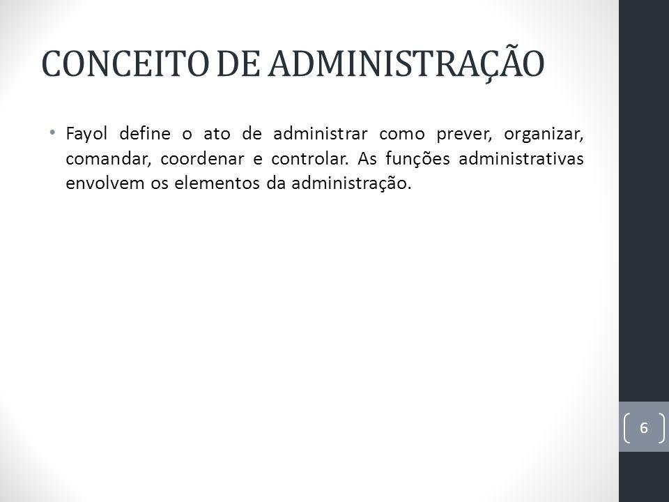 CONCEITO DE ADMINISTRAÇÃO Fayol define o ato de administrar como prever, organizar, comandar, coordenar e controlar. As funções administrativas envolv