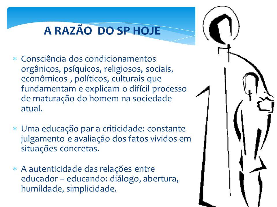A RAZÃO DO SP HOJE Consciência dos condicionamentos orgânicos, psíquicos, religiosos, sociais, econômicos, políticos, culturais que fundamentam e expl