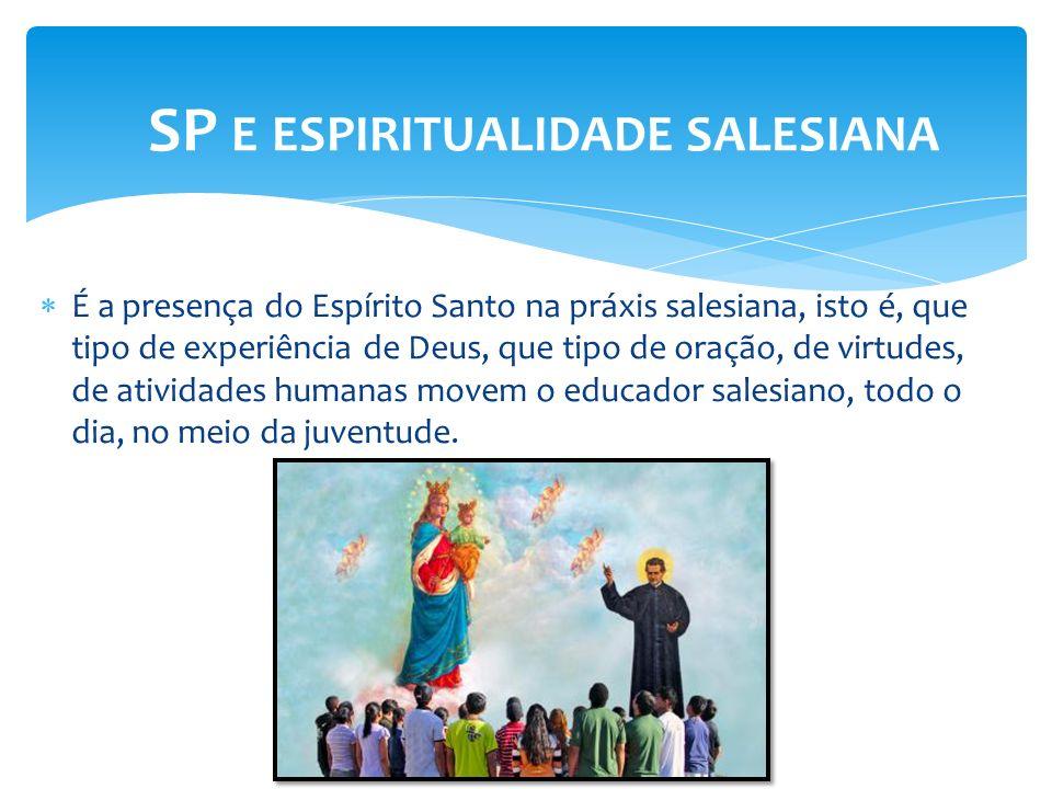 É a presença do Espírito Santo na práxis salesiana, isto é, que tipo de experiência de Deus, que tipo de oração, de virtudes, de atividades humanas mo