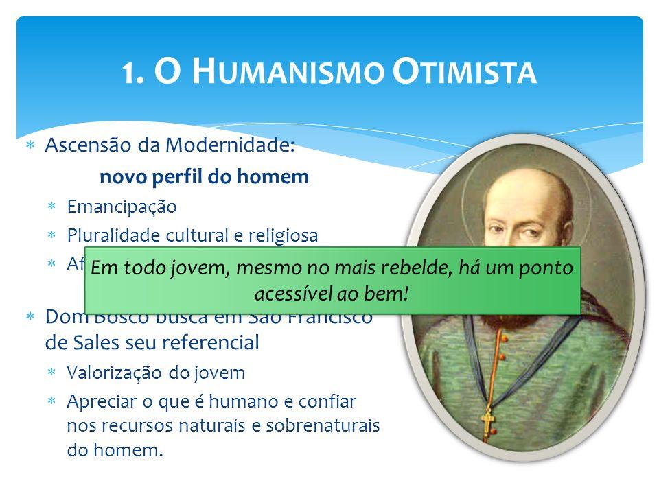 Ascensão da Modernidade: novo perfil do homem Emancipação Pluralidade cultural e religiosa Afirmação da subjetividade Dom Bosco busca em São Francisco