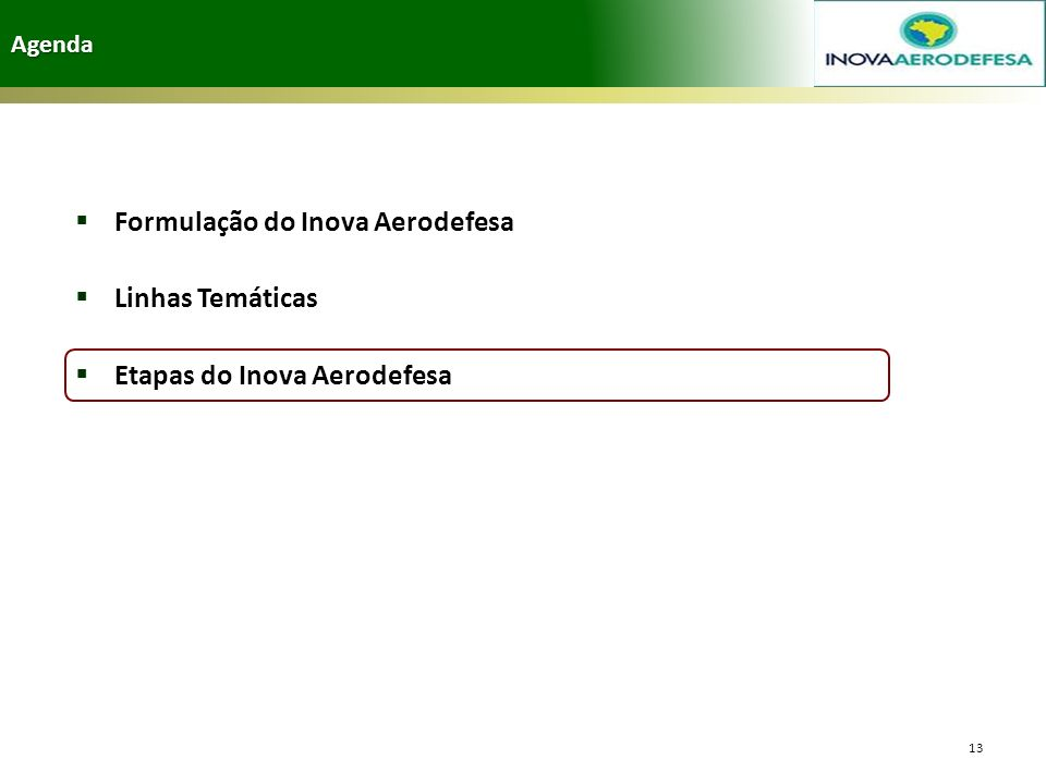 Agenda 13 Formulação do Inova Aerodefesa Linhas Temáticas Etapas do Inova Aerodefesa