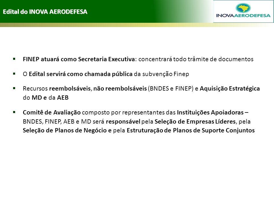 Edital do INOVA AERODEFESA FINEP atuará como Secretaria Executiva: concentrará todo trâmite de documentos O Edital servirá como chamada pública da sub