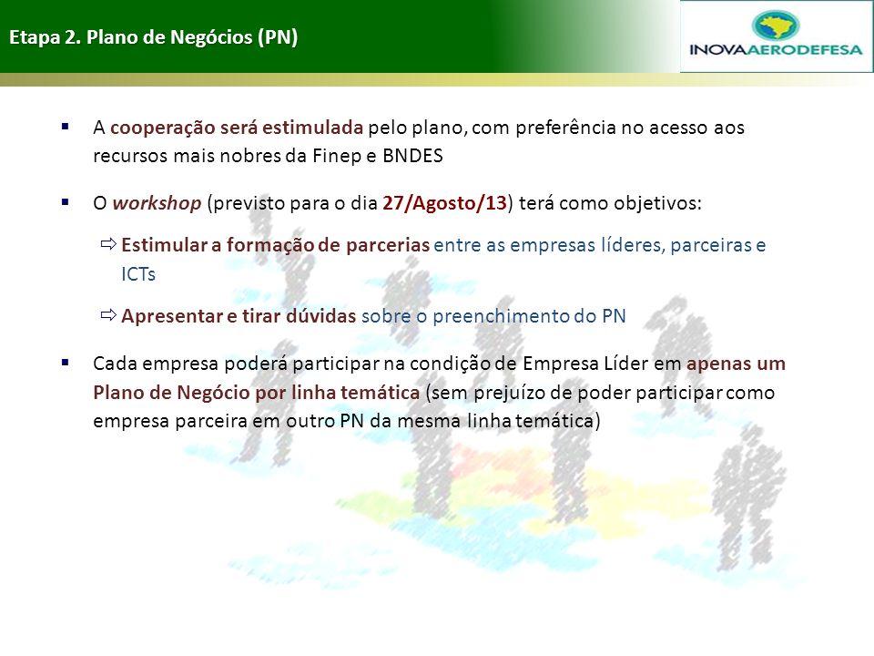 Etapa 2. Plano de Negócios (PN) 16 A cooperação será estimulada pelo plano, com preferência no acesso aos recursos mais nobres da Finep e BNDES O work