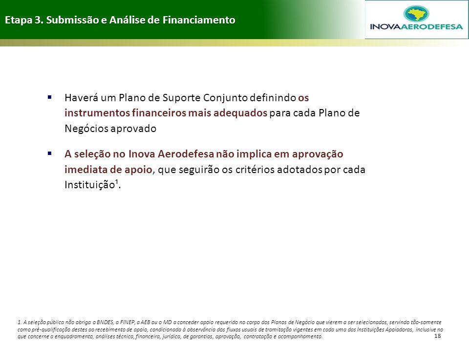 Etapa 3. Submissão e Análise de Financiamento 18 Haverá um Plano de Suporte Conjunto definindo os instrumentos financeiros mais adequados para cada Pl