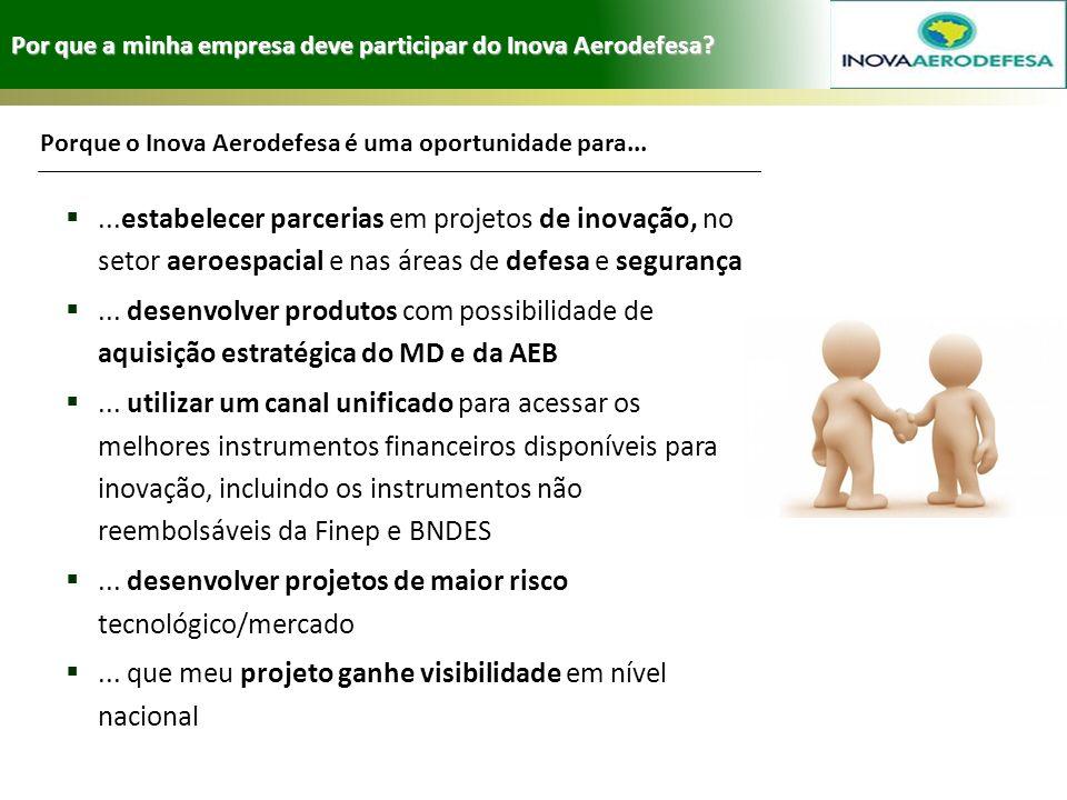 Por que a minha empresa deve participar do Inova Aerodefesa?...estabelecer parcerias em projetos de inovação, no setor aeroespacial e nas áreas de def