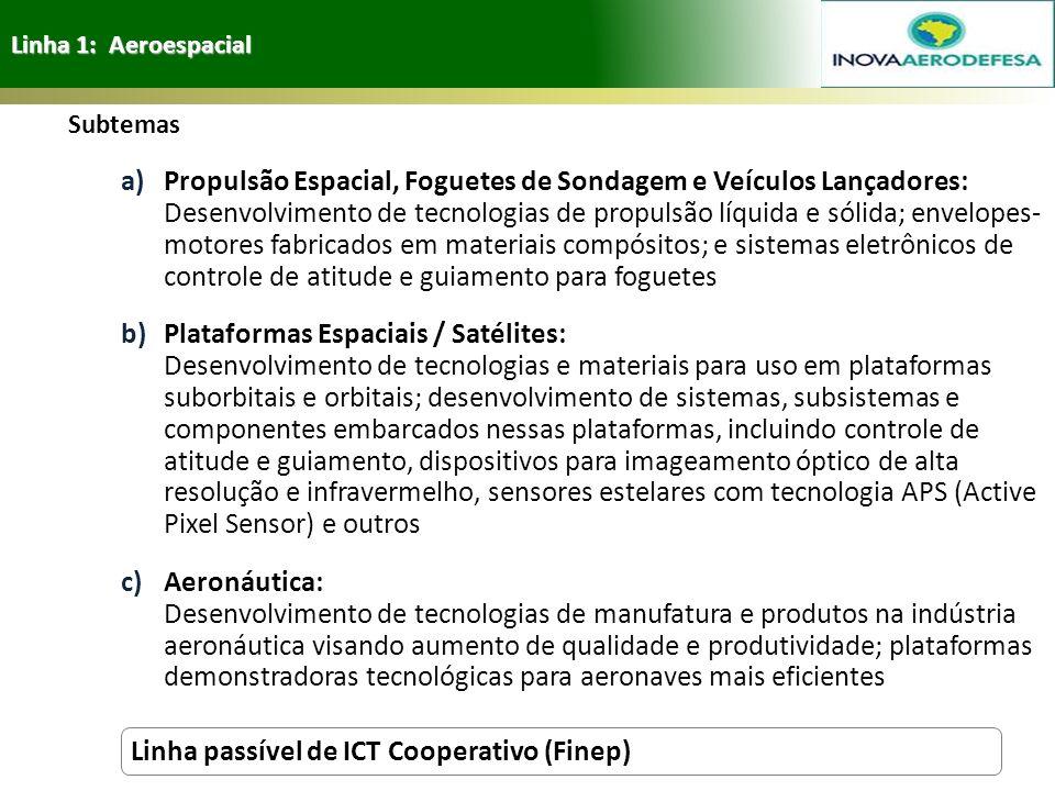 Linha 1: Aeroespacial Subtemas a)Propulsão Espacial, Foguetes de Sondagem e Veículos Lançadores: Desenvolvimento de tecnologias de propulsão líquida e