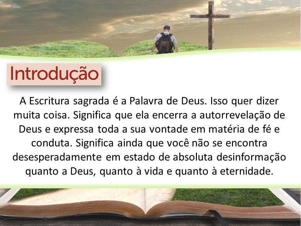 A Escritura sagrada é a Palavra de Deus. Isso quer dizer muita coisa. Significa que ela encerra a autorrevelação de Deus e expressa toda a sua vontade